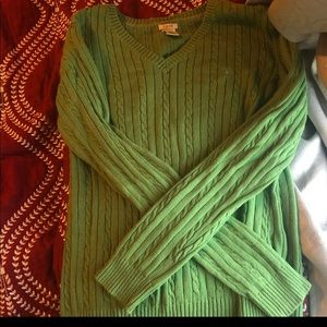 Ladies Izod Green Cable Sweater Large